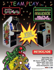 Video game manufacturer Team Play Inc's Centipede Millipede Missile Command video game