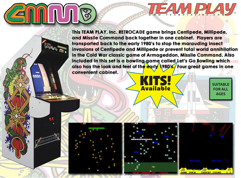 Centipede Millipede Missile Command video game by video game manufacturer Team Play, Inc.