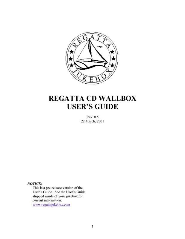 Regatta Jukebox Manual for Wallbox